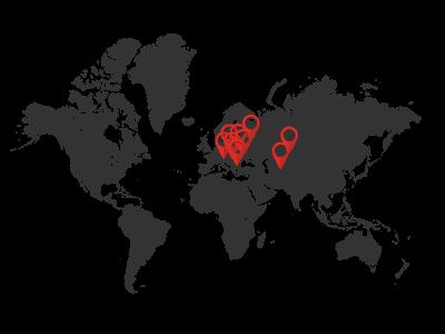 pobočky v České republice a několik desítek v zahraničí